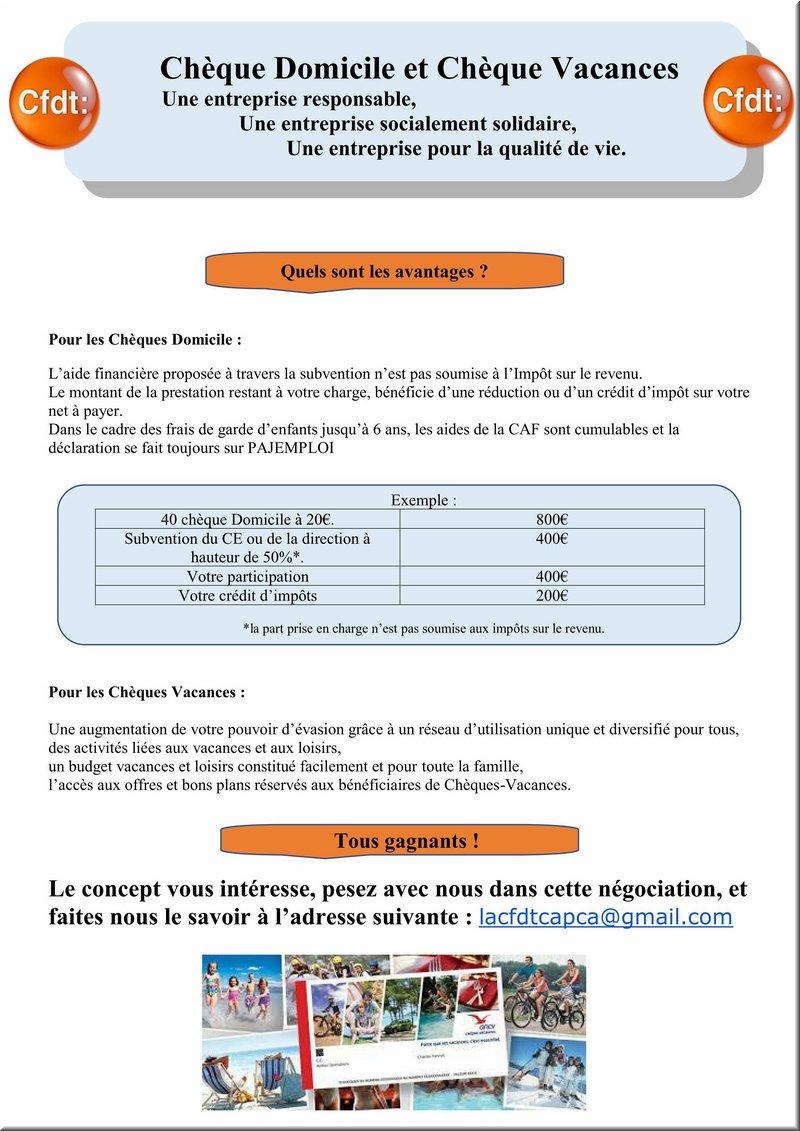 Cfdt Credit Agricole Pca Cheques Domicile Et Cheques Vacances